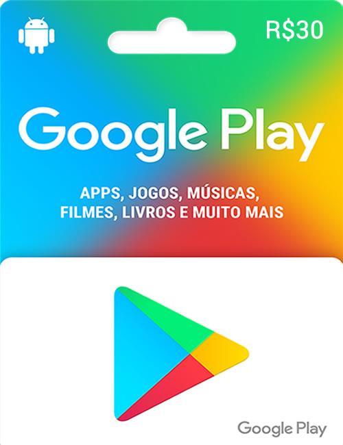 cartão google play 30 reais