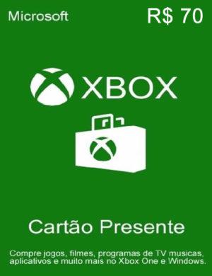 Cartão Microsoft Xbox R$ 70 Reais